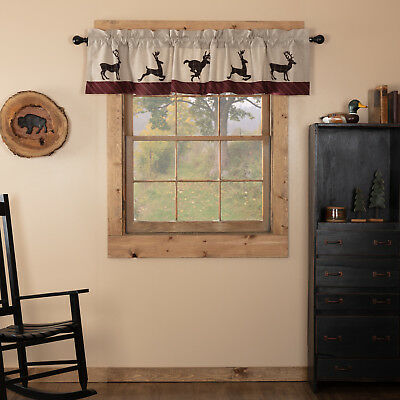 Tan Rustic & Lodge Kitchen Curtains VHC Wyatt Deer Valance Rod Pocket