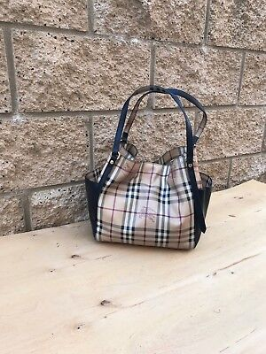 5a6d43f2df81 Burberry Haymarket Panel Canterbury Check Small Leather Tote Bag