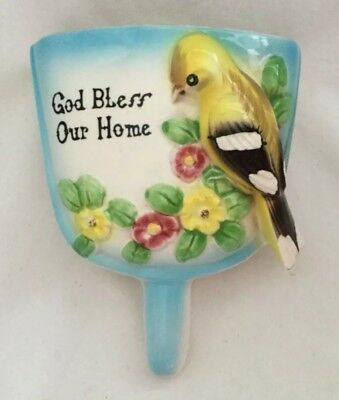 Vintage Japan Blue Ceramic DUST PAN WALL POCKET Bird GOD BLESS OUR HOME