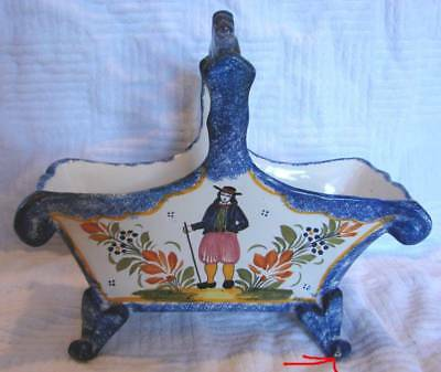 French Quimper Pottery Large Footed Basket Breton c 1922 to 1968