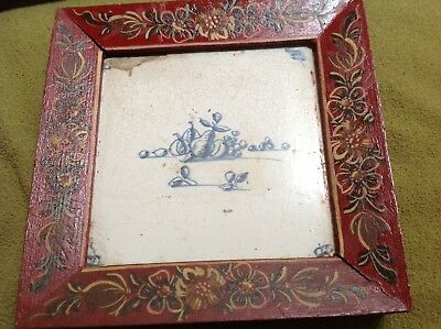 Antique Dutch Delft Tile of a still life w fruit w red paint decorated frame as