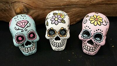 "3 Small 2 ""  Colorful Sugar Skull Resin Dia De Los Muertos ~Day of the Dead"
