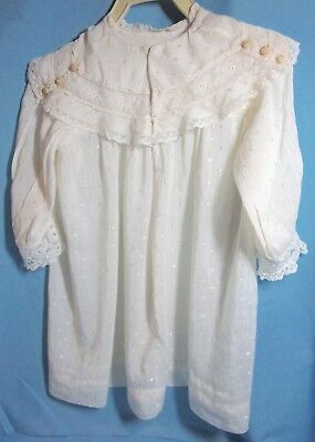 Lot of 3 Antique Christening Gowns, Girl's Dresses, Embroidered Net Lace