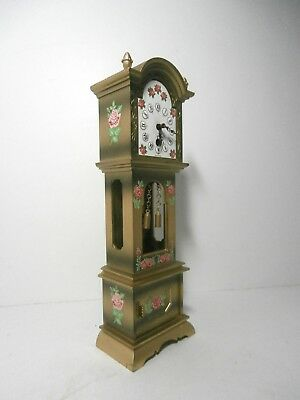 Vintage Miniature Windup Grandfather Clock w/Key West Germany Working Condition