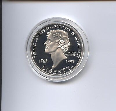1993 Jefferson Proof Silver Dollar Cameo
