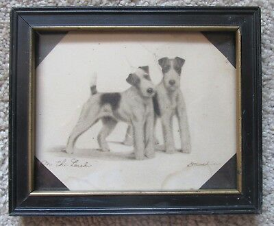 """Vintage 'Leon Danchin' Print in Frame~Fox Terriers """"On the Leash""""~Early 1900's?"""