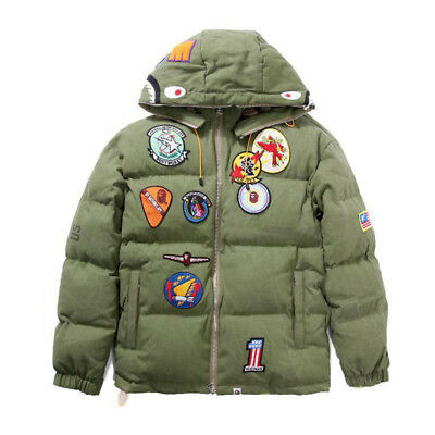 280c60365544 Men s Bape A Bathing Ape Embroidery Shark Head Padded Jacket Thicken Coat  Hoodie
