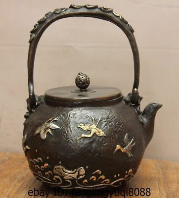 Archaic Japanese Iron Silver Gilt Sea Crane Portable Flagon Kettle Wine Tea Pot