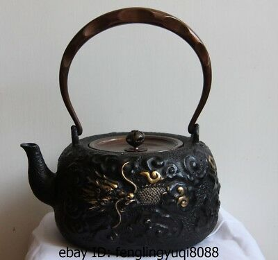 9 Archaic Japanese Iron Silver Gilt God Animal Dragon Flagon Kettle Wine Tea Pot