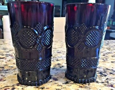 2 Avon 1876 Cape Cod Collection Ruby Red Glasses 12 Oz Tumbler