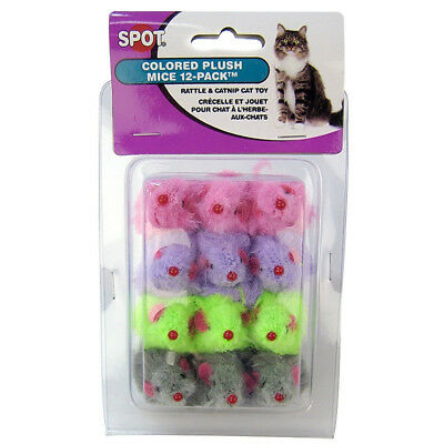 Spot Colored Plush Mice Cat Toy with Rattle & Catnip