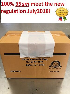 2000 SMALL Plastic Singlet Grocery Shopping Checkout Bags LARGE BULK SALES
