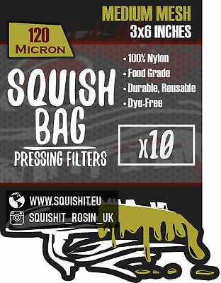 """3 x 6"""" - SQUISHIT® SQUISH BAGS Rosin Extraction Micron Filter Press Bags Devil"""