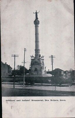 A) Soldiers' and Sailors' Monument Des Moines Iowa posted Amkeny IA Jul 29 1910