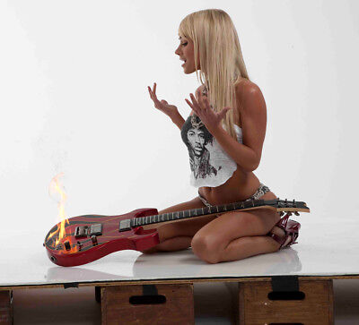 Sara Jean Underwood With The Guitar On Fire 8x10 Quality Photo Print
