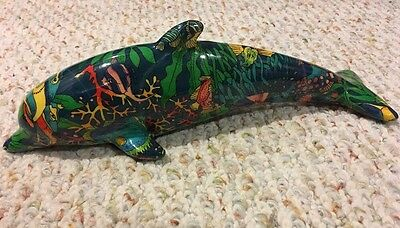 Decorative Dolphin With Multicolored Underwater Pattern