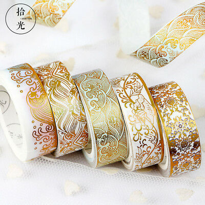 Gold Foil DIY Craft Glitter Paper Adhesive Stickers Chinese Pattern Washi Tape