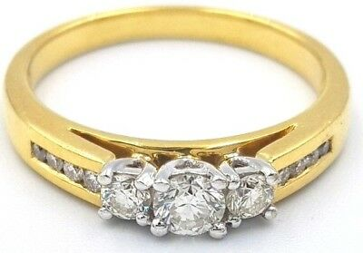 Stunning! 18K Yellow Gold Genuine 0.50Ct Diamond Ladies Engagement Ring 750