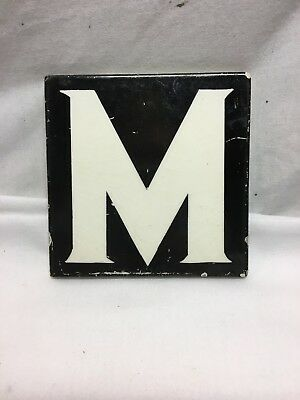 "Antique AETCO American Encaustic Tile Co Tile of the Letter ""M"""