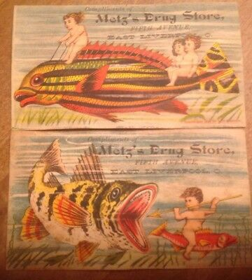 1883 Victorian Trade Cards Metz's Drup Store East Liverpool Ohio