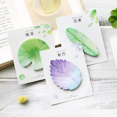 1pcs Cute Kawaii Natural Plant Leaf Sticky Note Memo Pad Office Planner Sticker