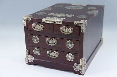 Asian Antique-style Small Wood Box Metal Decoration Free Shipping 772r01