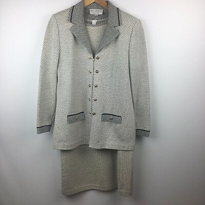 St. John Collection by Marie Gray  2 Piece Dress Jacket Set Sz 6 8 Santana knit