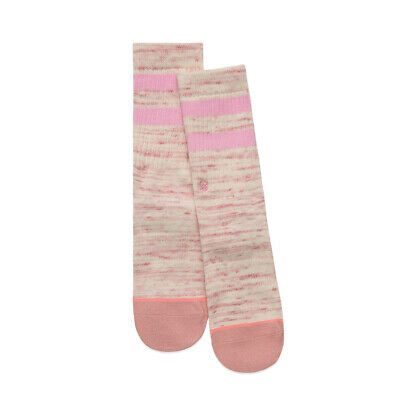 Stance Girls Socks Crew Combed Cotton Athletic Ribbed Pink Striped