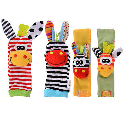 4pc Newborn Baby Boy Girl A Infant Soft Toy Wrist Rattles Finders Wristband Cute