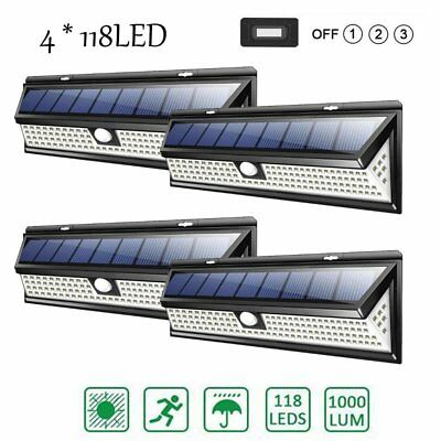 4X 118LED Solar Powered PIR Motion Sensor Wall Light Outdoor Garden Lamp 3 Modes