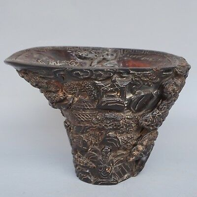Chinese Exquisite Hand-carved Old man landscape carving OX Horn cup