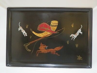 ANHEUSER-BUSCH BEER Metal Wood Shell Hand Inlaid Beagle Fox Hunt TRAY BREWERIANA