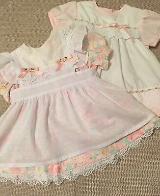 VTG - Lot of 2 Vintage Baby Dresses - Pinafore - size 18-24 months