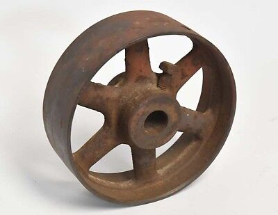 Vintage Industrial Large Iron Wheel Or Belt Pulley 6 Spokes 8 Inch Steampunk