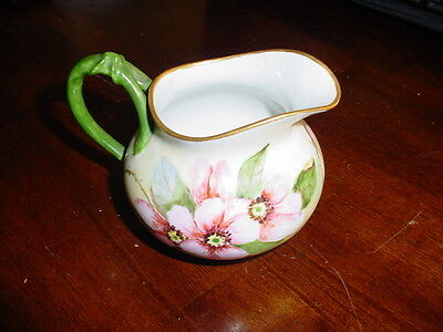 "Beautiful Vintage Hand Painted Austrian Creamer ""w"" Mark In Jar Free Shipping"