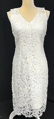 Tahari Women Dress 8 Sheath Lace Overlay Sleeveless White Wedding Event New $168