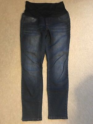 Blue Spice Size Medium Maternity Dark Wash Skinny/Straight Stretchy Jeans Pants