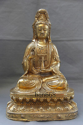 "18"" Asian old China antique collection brass vase guanyin statue xuande mark"