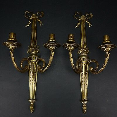 Pair of Antique Brass Finish Art Deco Double Arm Wall Sconce Candle Holders