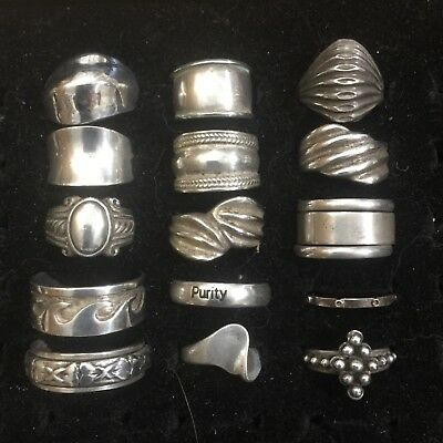 15 Vintage Sterling Silver Ring Lot Spinner cigar bands wave barbed wire Mexico