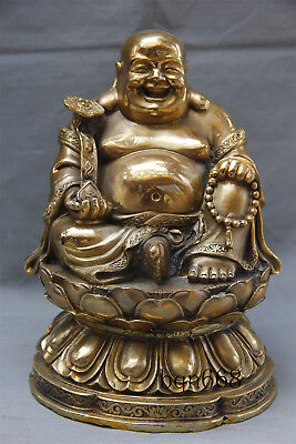 "10"" Asian China antique old brass ruyi Maitreya Buddha statue"
