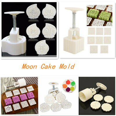 50g/70g/125g Round/Square Moon Cake Mold Flower Stamps Baking Tool ABS Beige