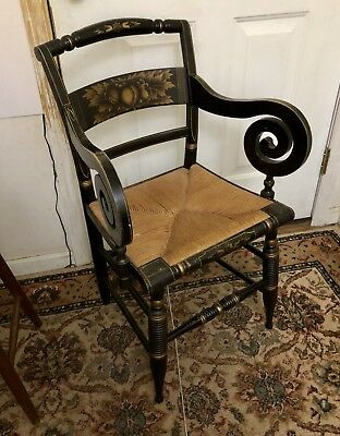 Fantastic Antique Hitchcock Chair With Scroll Arms ~ Signed