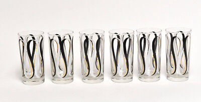 Mid Century Modern Mcm Retro Collection Of 6 Cocktail Glasses