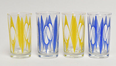 Mid Century Modern Mcm Retro Collection Of 4 Cocktail Glasses