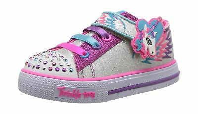 Skechers Girls Twinkle Toes Party Pets Trainers Multicolour (Silver/Hot Pink)