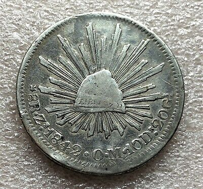 1842 Zs OM Mexico Cap & Rays 8 Reales Coin Axis Nice Condition Scarce