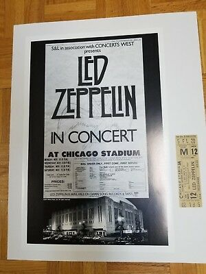 Led Zeppelin 1980  Chicago Concert Poster & Ticket set . Bohnam death. Authentic