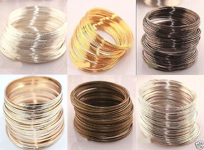 Lots Loops Metal Memory Steel Wire Cuff Bangle Bracelet 60mm Charm Jewelry Acc