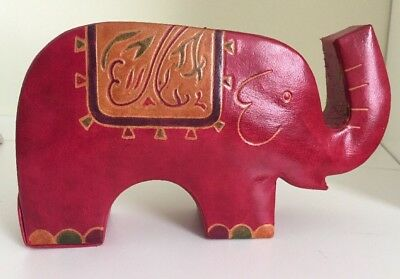 New Leather Elephant Bank Handmade Pink Green Coin Still Hand Craft Thailand